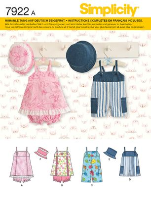 Simplicity 7922 Schnittmuster Baby-Kleid Hose & Hut
