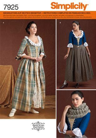Simplicity Schnittmuster 7925 - Damen Kostüm Historisches Kleid