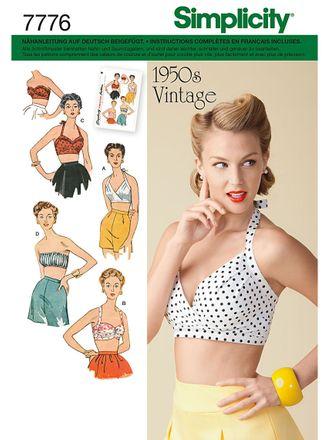 Simplicity Schnittmuster 7776 - Damen Vintage-Bustier-Top, 50er