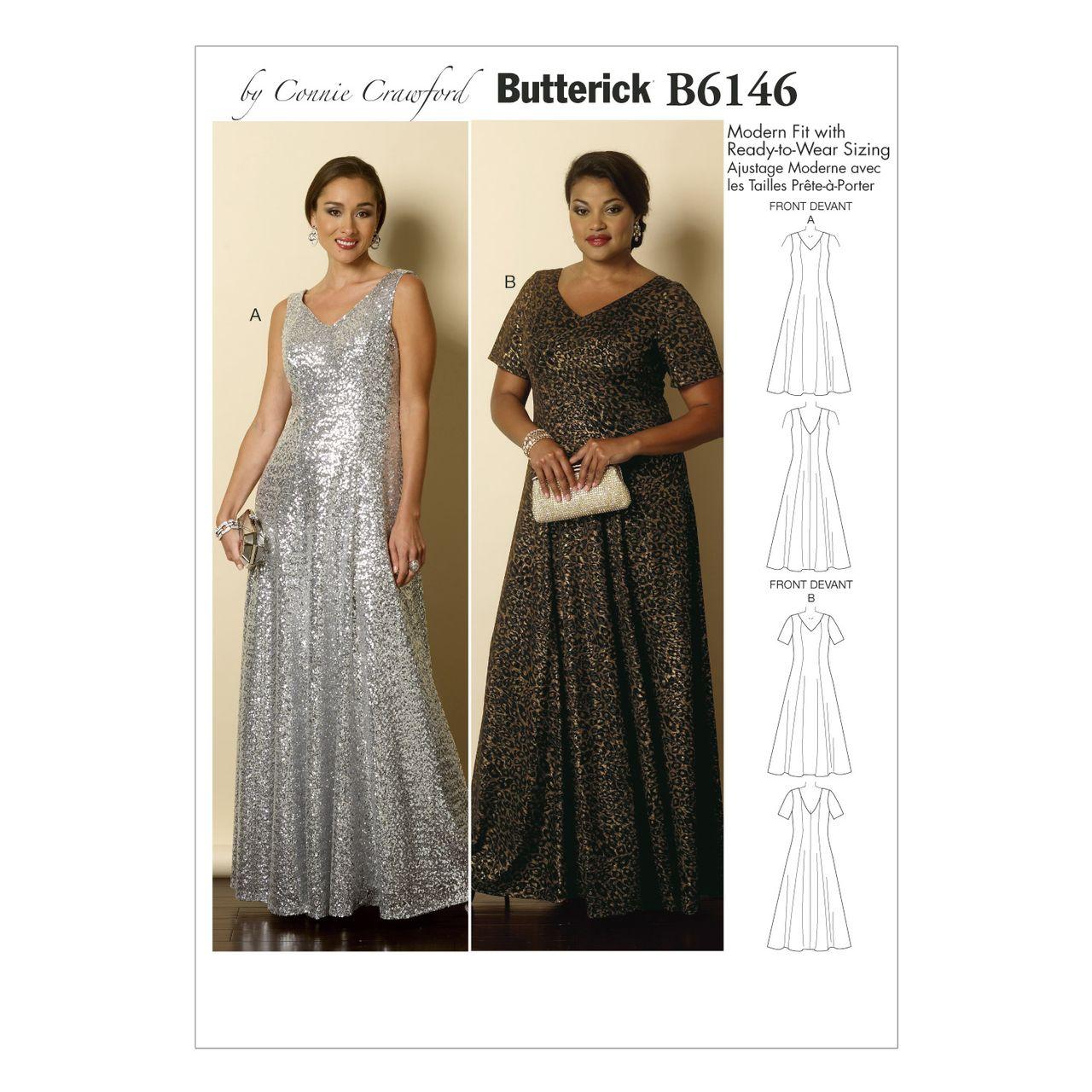 Butterick Schnittmuster 6146 Damen Kleid Alfatex Webshop