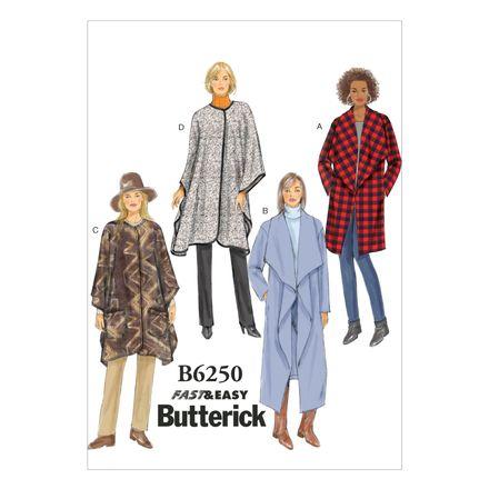 Butterick Schnittmuster - 6250 - Damen - Mantel, Poncho