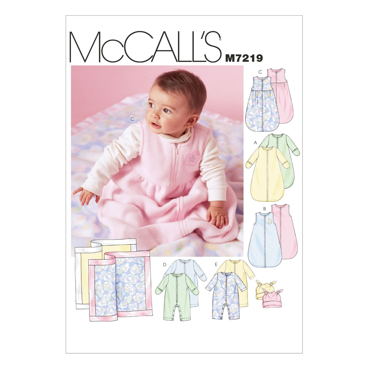 7a24f435255 McCall´s Schnittmuster - 7219 - Kinder - Strampler & Baby-Accessoires