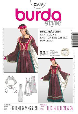 Burda Schnittmuster - 2509 - Damen Kostüm Burgfräulein