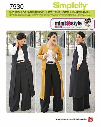 Simplicity Schnittmuster 7930 - Damen Kombination Hose, Mantel, Weste, Shirt