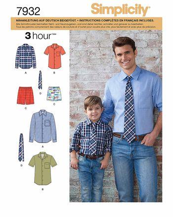 Simplicity Schnittmuster 7932 - Herren & Jungen Hemd, Krawatte, Shorts