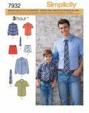 Simplicity Schnittmuster 7932 - Herren & Jungen Hemd, Krawatte, Shorts 001