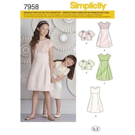 Simplicity Schnittmuster 7958 - Kinder Kleid & Jäckchen