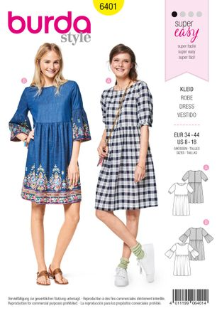 Burda Schnittmuster - 6401 - Damen Kleid