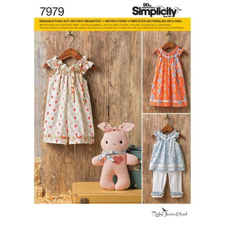 Simplicity Schnittmuster 7979 - Kinder, Baby Kleid, Spielanzug