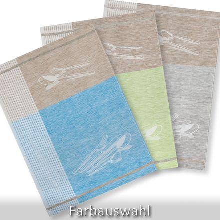Halbleinen-Geschirrtuch - Besteck - 50x70cm - verschiedene Farben