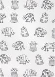 Halbleinen-Geschirrtuch - Katzenprint - 50x70cm 001