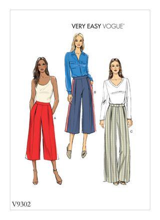Vogue Schnittmuster V9302 - Damen - Bundfalten-Hose