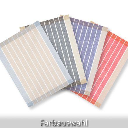 Halbleinen-Geschirrtuch - breite Streifen - 50x70cm - verschiedene Farben