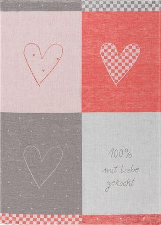 Halbleinen-Geschirrtuch - Mit Liebe gekocht - rot - 50x70cm