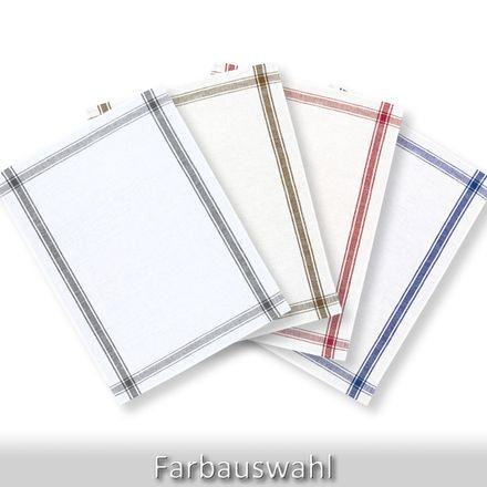 Halbleinen-Geschirrtuch - weiß/verschiedene Farben - 50x70cm