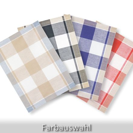 Halbleinen-Geschirrtuch - großes Karo - 50x70cm - verschiedene Farben