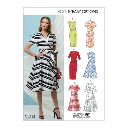 Vogue Schnittmuster V9313 - Damen - Kleid in Wickeloptik