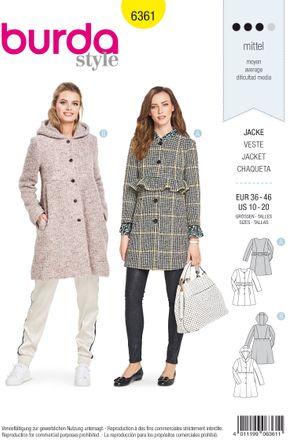 Burda Schnittmuster - 6361 - Damen Jacke, Kurzmantel