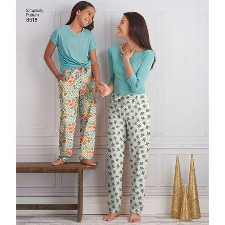 Simplicity Schnittmuster 7028 - Damen & Kinder Pyjama-Hose – Bild 2