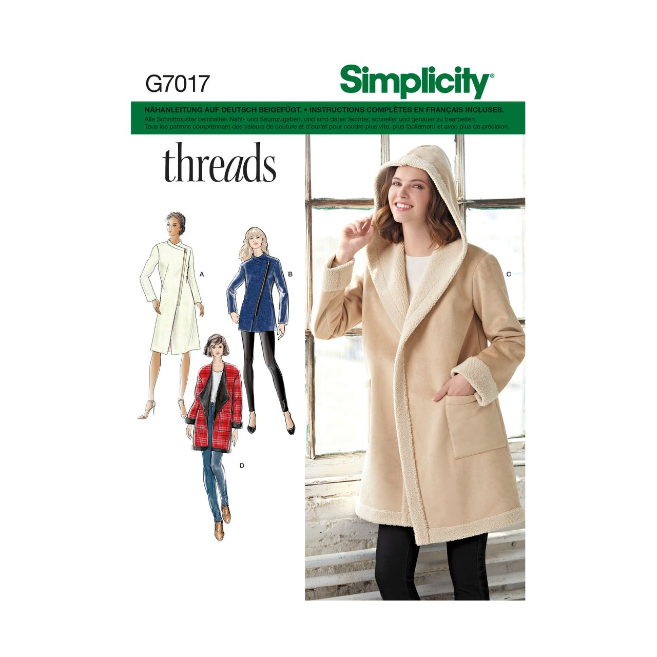 nYBUxxCW Simplicity 7017 Schnitte Mantel Jacke Schnittmuster FclJK1