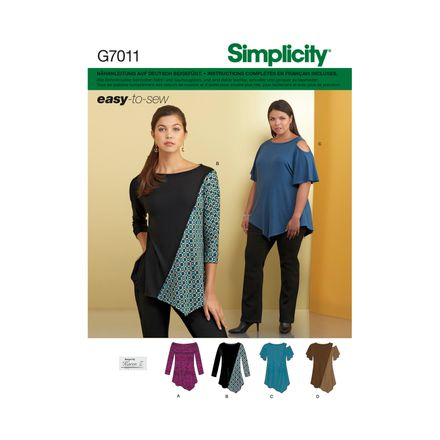 Simplicity Schnittmuster 7011 - Damen Shirt, Cut-Out