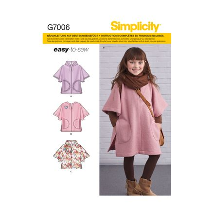 Simplicity Schnittmuster 7006  - Kinder Poncho
