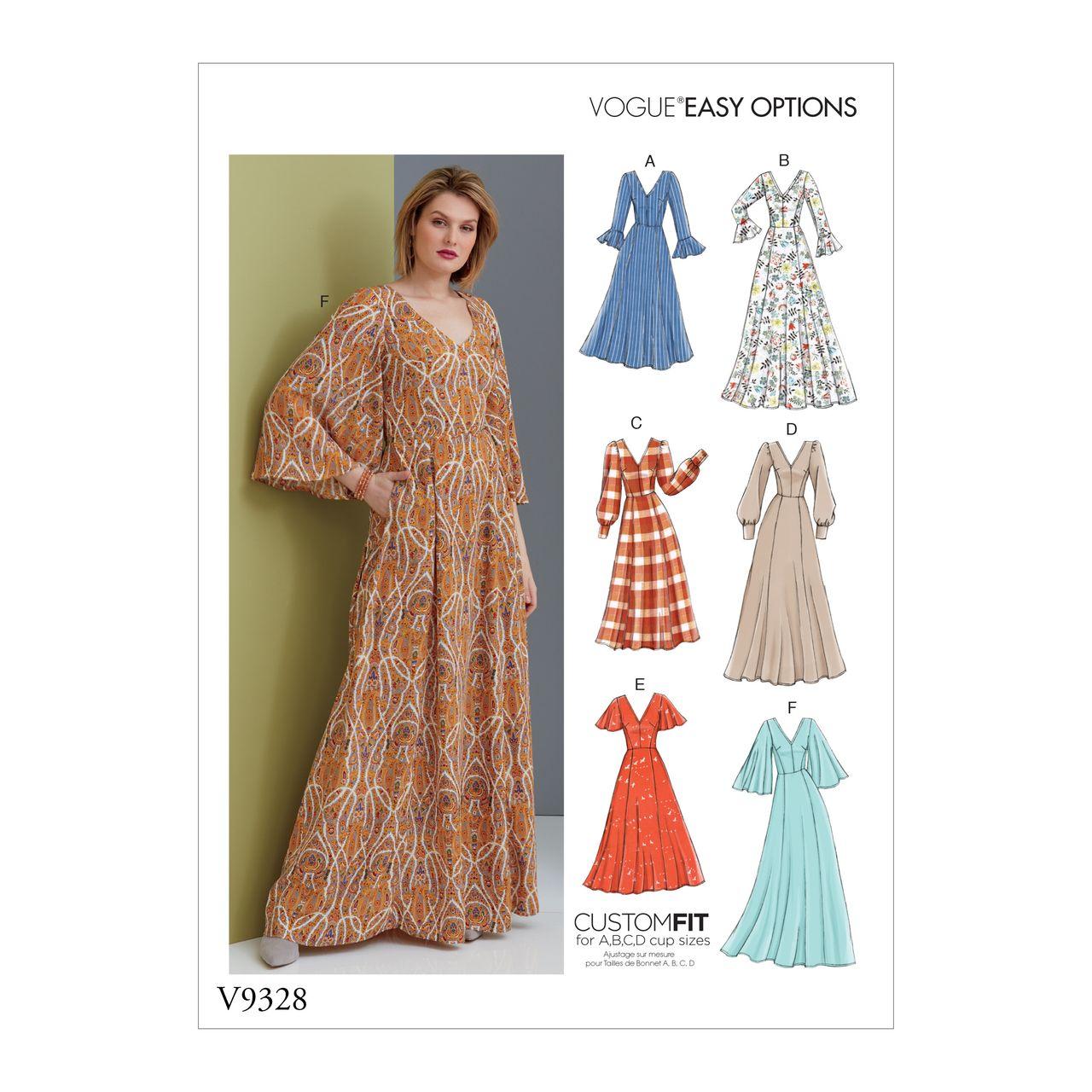 vogue schnittmuster v9328 - damen - kleid mit rundem rückenausschnitt |  alfatex webshop