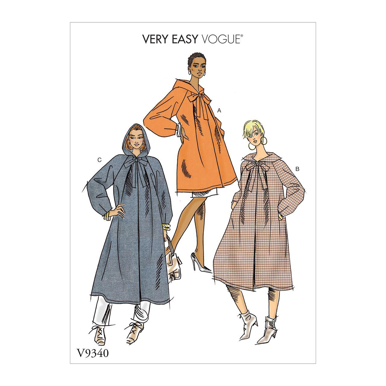 Vogue Schnittmuster V9367 Damen Mantel, Trenchcoat