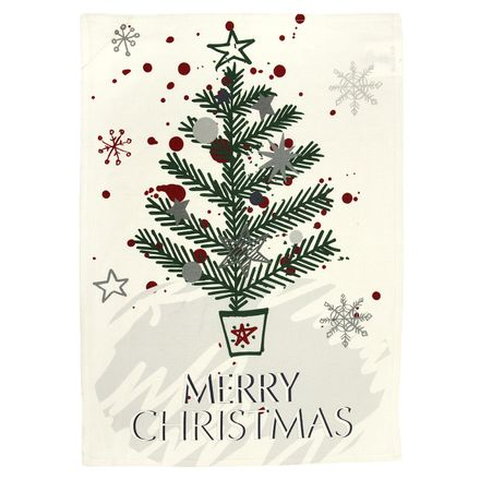 Halbleinen Geschirrtuch Christmas Tree 50x70 cm