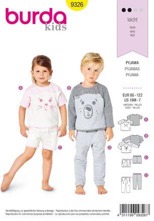 Burda Schnittmuster - 9326 - Kinder Pyjama