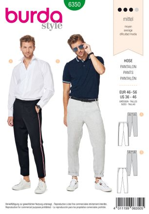 Burda Schnittmuster - 6350 - Männer Hose