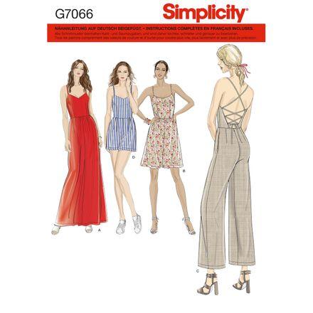 Simplicity Schnittmuster 7066 - Damen Trägerkleid, Jumpsuit