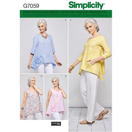 Simplicity Schnittmuster 7059 - Damen Shirt, Zipfelshirt