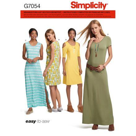 Simplicity Schnittmuster 7054 - Damen Jersey-Kleid