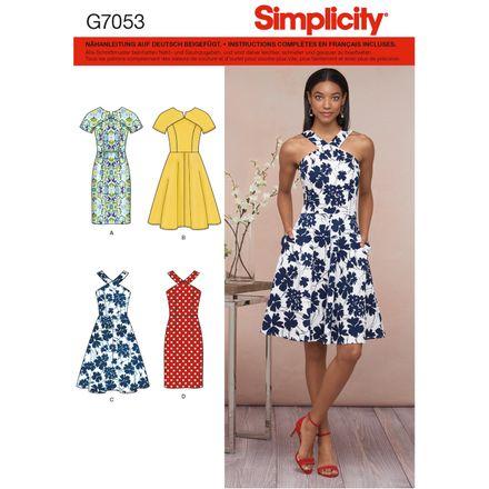Simplicity Schnittmuster 7053 - Damen Kleid, kurze Größen