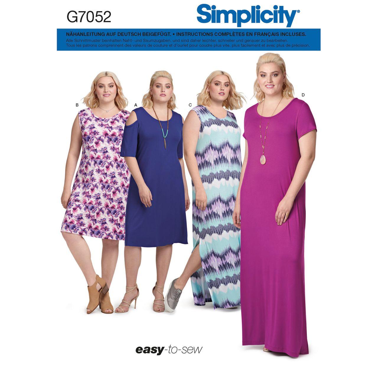 simplicity schnittmuster 7052 - damen kleid in großen größen | alfatex  webshop