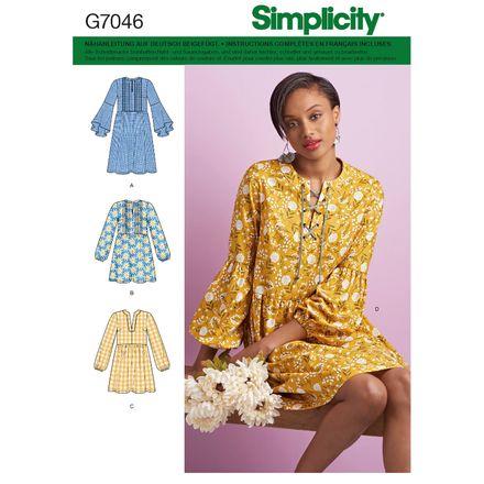 Simplicity Schnittmuster 7046 - Damen Kleid & Tunika