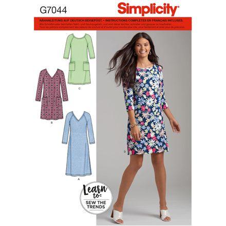 Simplicity Schnittmuster 7044 - Damen Kleid, Raglanärmel