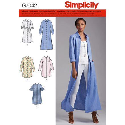 Simplicity Schnittmuster 7042 - Damen Hemdblusenkleid