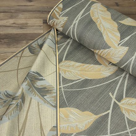Deko-Jacquard - Leaves - grau/gold – Bild 2