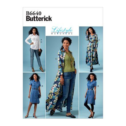Butterick Schnittmuster - 6640 - Damen Kombination, Bluse, Kleid, Hose