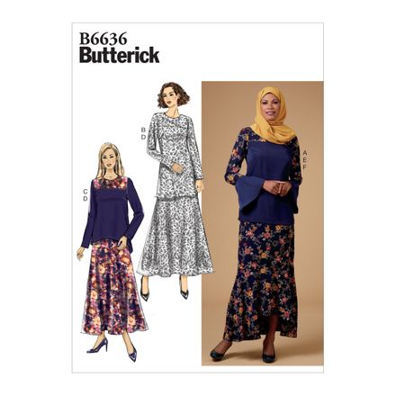 Butterick Schnittmuster - 6636 - Damen Kombination, Rock, Shirt