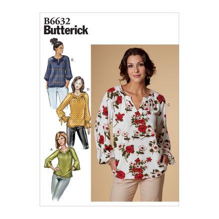 Butterick Schnittmuster - 6632 - Damen Bluse, Schlupfbluse
