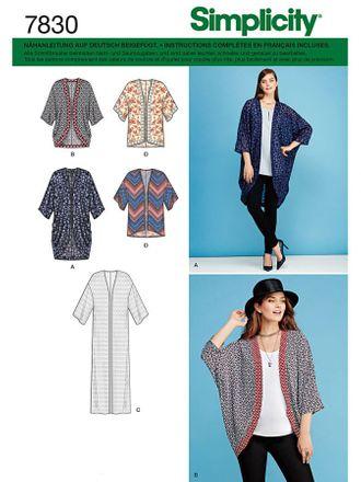 Simplicity Schnittmuster 7830 - Damen leichter Mantel, Kimono