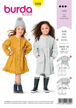 Burda Schnittmuster - 9309 - Kinder Kleid
