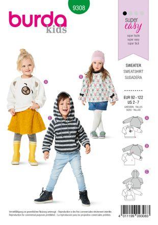 Burda Schnittmuster - 9308 - Kinder Sweatshirts