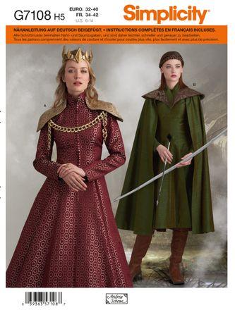 Simplicity Schnittmuster 7108 - Damen Kostüm Kleid & Cape
