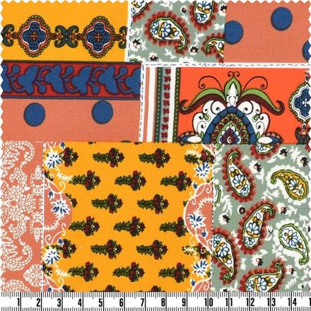 Viscose-Print - Patchwork Paisley - rot/mehrfarbig