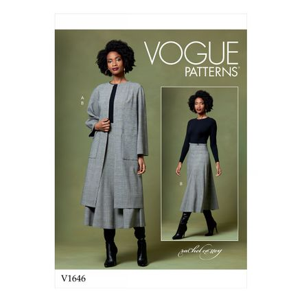Vogue Schnittmuster V1646 - Damen Mantel & Rock