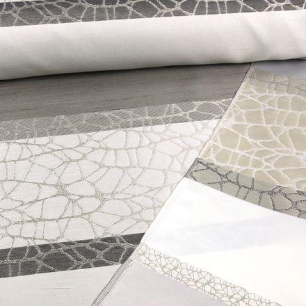 Deko-Jacquard - Streifen - grau/beige
